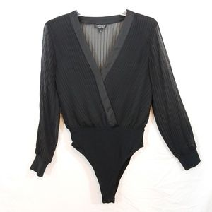 Topshop black long sleeve bodysuit 8
